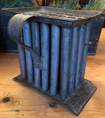 Primitive Antique Tin 24 Tube Stick Candle Mold with Handle AAFA Country