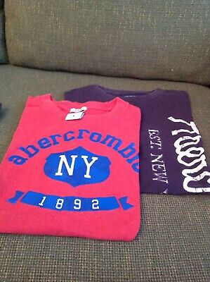 ABERCROMBIE TSHIRTS RED/ NAVY KIDS LARGE pre Owned