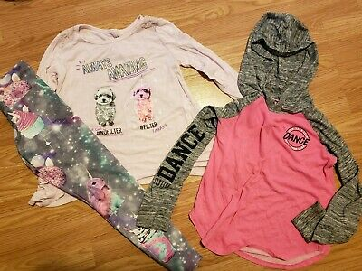 LOT Justice Girls Shirts Size 6 leggings size 7