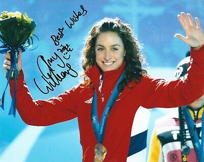AMY WILLIAMS SIGNED 8x10 PHOTO - UACC & AFTAL RD - OLYMPIC GOLD SKELETON RACER