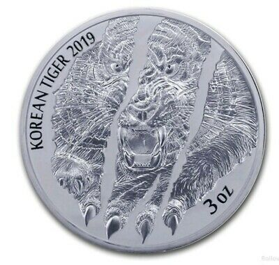 2019 South Korean .999 Silver Tiger  3 oz coin in Airtite Capsule. Limited mint.