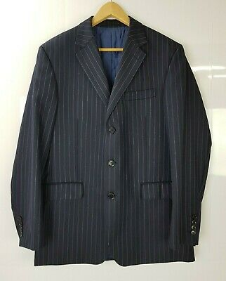 Austin Reed Pin Striped Formal Jacket Navy Blue Size 40R Pure New Wool Men's  52