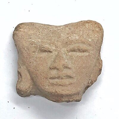 Pre-Columbian Central American Archeological Human Face Clay Pottery Artifact Z