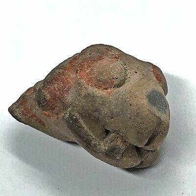 Pre-Columbian Central American Archeological Snake Face Clay Pottery Artifact F1