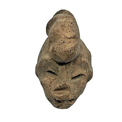 Pre-Columbian Central American Archeological Human Face Clay Pottery Artifact H1