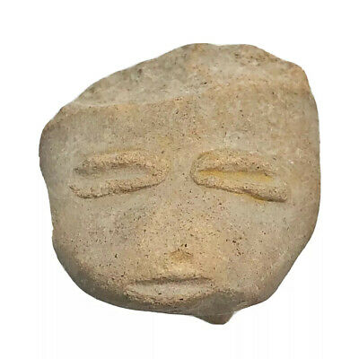 Pre-Columbian Central American Archeological Human Face Clay Pottery Artifact I1