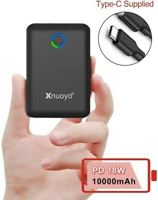 Xnuoyo PD 18W Mini Power Bank 10000mAh, Quick Charge 3.0 Portable Charger USB C