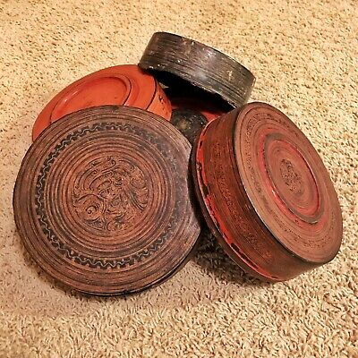 Authentic Antique 1600-1700's Chinese Dim Sum Black & Red Lacquer Bowls - Asian