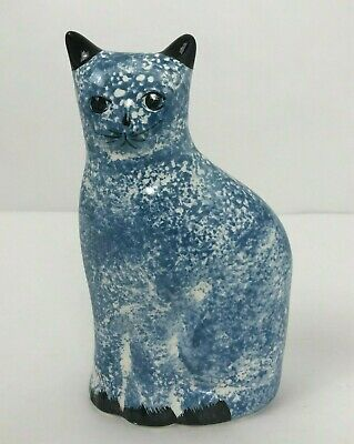 Vintage Ceramic Sitting Cat Coin Bank Hand Painted Made in Taiwan Piggy Bank