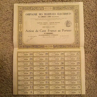 Authentic 1899 Paris France Bond Certificate W/ Several Bonds Script Document