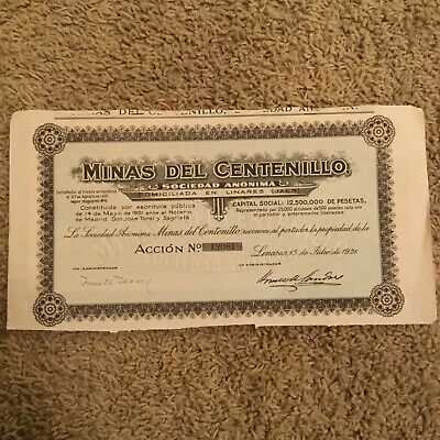 Authentic 1921 Madrid Spain Bond Certificate W/ Several Bonds Script Document