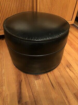 Vintage Mid Century Modern Rare Black Vinyl  Ottoman Foot Stool Exc Cond REDUCED