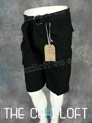 Mens OTB Cargo Shorts Black Twill with Button Flap Pockets and Belt