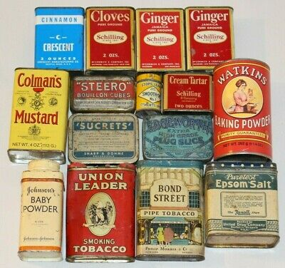 LOT old vintage antique advertising tins - Spices, Tobacco, etc