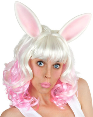 Miss Bunny White Wig With Ears One Size