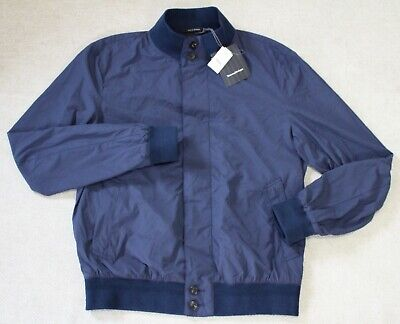 Ermenegildo Zegna Men's Seersucker Button Front Bomber Jacket, Navy, Size 50