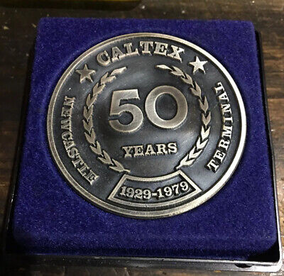 Boxed Vintage CALTEX 50 Year Service Medallion Newcastle Terminal - Mint!