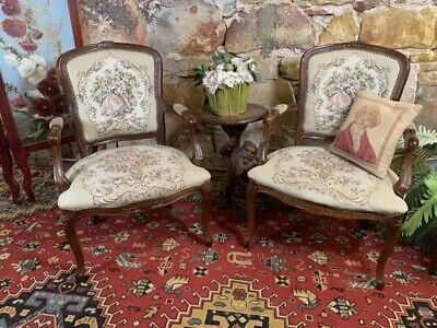 Pair [2x] Antique Vintage French Louis Style Chair~Bergere~Armchairs~Exc Quality