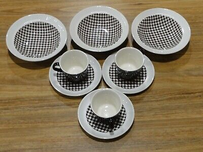3 Retro Crown Lynn Breakfast Sets: Cereal Bowls,Cups $ Saucers Kelston Ceramics