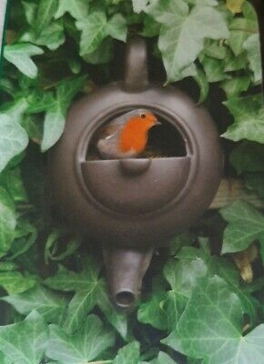 Ceramic Teapot Nest In Box For Robins and Other Small Birds Fit on Fence or Wall