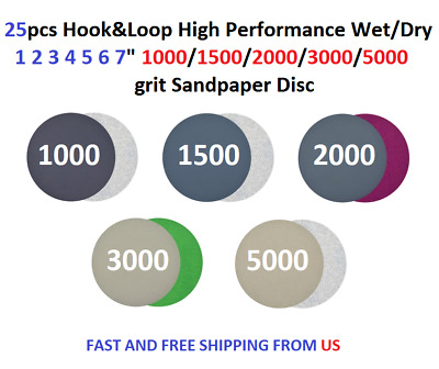 "25pcs Hook&Loop Wet/Dry 1 2 3 4 5 6 7"" 1000-5000 Grit Sandpaper Disc"