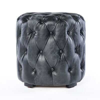 Chesterfield Real Leather Ottoman Stool Black Leather Footrest Sitting Stool 659