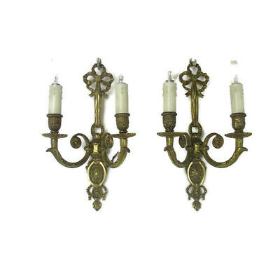 Pair Couple Vintage Ornate  Brass  Two-Arm Double Wall Sconces Bows Lovely