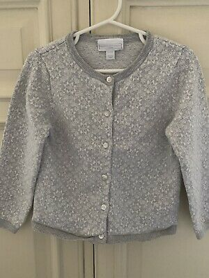Little White Company Girls Grey Snowflake Cardigan 3-4yrs