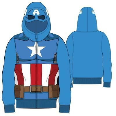 Child Boys Marvel Comics Hero Captain America Blue Zip Up Costume Sweatshirt