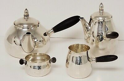 1930's Georg Jensen 4 Piece Sterling Silver Tea & Coffee Set Model #80 A,C,C,F