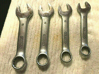 STANLEY STUBBY METRIC WRENCHES - LOT of 4 USED - BOX / OPEN END COMBO - TAIWAN
