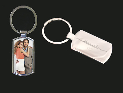 Personalised Metal Keyring Photo Printed and name Engraved Keepsakes  Gift