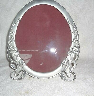 Vintage Seagull Pewter Large Oval Picture Frame