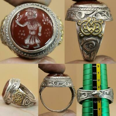 Silver Agate old stone intaglio King Wonderful Lovely Ring  # 112