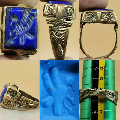 Eagle Bird intaglio Old Lapis lazuli stone beautiful Ring   # 112