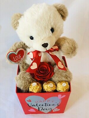 Forever Eternal Preserved Real Scented Red Rose Teddy Bear Chocolate Gift Box.