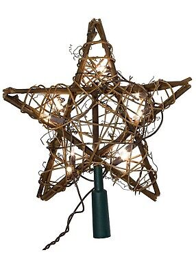 Kurt Adler Lighted Rattan Natural Wood Christmas Decor Tree Topper Holiday Star