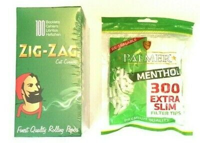 10 x PALMER MENTHOL EXTRA SLIM FILTER TIPS and FULL BOX ZIG ZAG ROLLING PAPERS