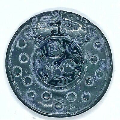 Antique Chinese Style Green Spinach Jade Stone Carving — Asian Dragon Pendant