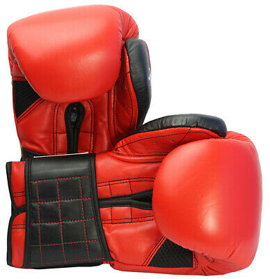 Boxing Gloves Leather MMA Muay Thai Punch Bag Kickboxing Sparring 12oz Gel Mitts