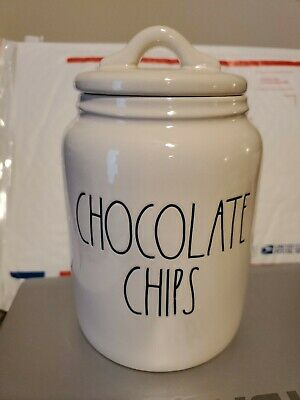 New Rae Dunn CHOCOLATE CHIPS Baby Sized Large Letter LL Canister RARE 2020 HTF