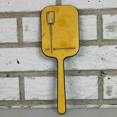 Vintage Dupont Yellow Black Celluloid Hand Held Beauty Mirror Vanity Makeup