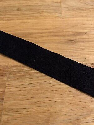 24mm Wide Black Flat Elastic with Matte Finish - 10Metres