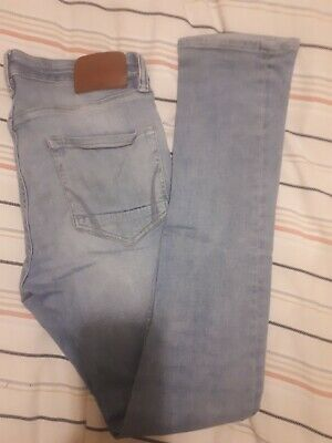 Men's/Boys ALLSAINTS Cigarette light blue denim skinny stretch faded jeans W/28