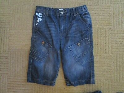 boys boy blue denim shorts age 10-11 years adjustable waist exc condition