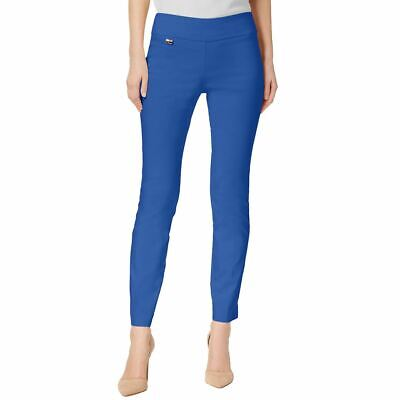 ALFANI NEW Women's Blue Crest Tummy-control Pull-on Skinny Pants 14 TEDO