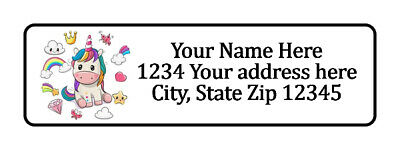 400 Unicorn Personalized Return Address Labels 1/2 inch by 1 3/4 inch