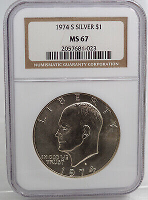 1974-S Silver Uncirculated Eisenhower Dollar Ngc Ms67