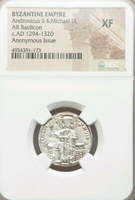 Byzantine Empire Andronicus II & Micahel IX NGC XF Ancient Silver Coin