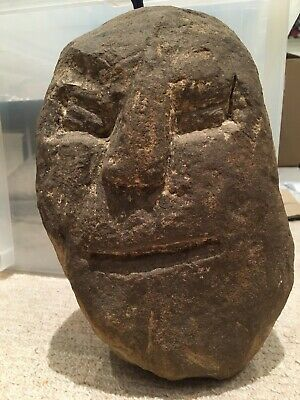 Carved Stone Head - Pebble Head, Believed To Be From Iron Age.